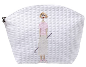 Golf Lady White Waffle Cosmetic Bag in Pink