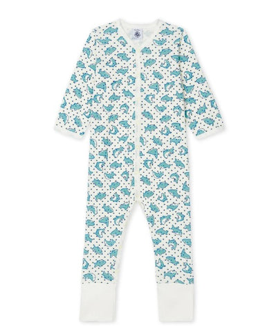 Faraday Shark Print Romper in Blue Multi