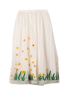 Daffodils Embroidered Wrap Skirt in Ivory + Yellow