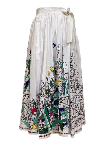Coloriage Paint by Numbers Wrap Skirt in White Multi