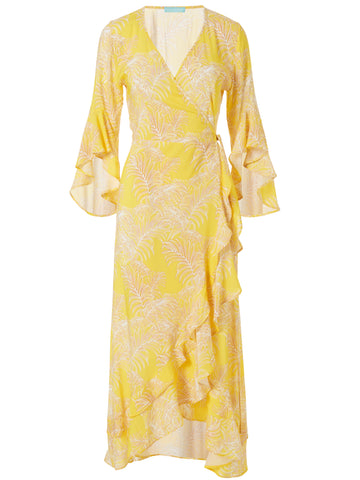 Cheryl Maxi Wrap Cover Up in Tropical Yellow