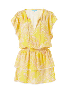 Keri Tiered Crepe Mini Cover Up in Tropical Yellow