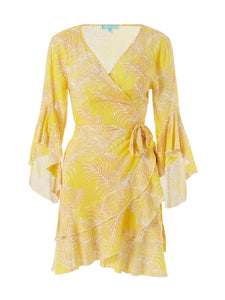 Kirsty Ruffled Wrap Cover Up in Tropical Yellow