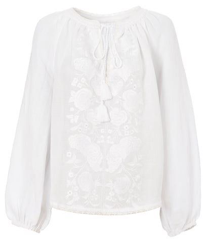 Frankie Embroidered Long Sleeve Top in White
