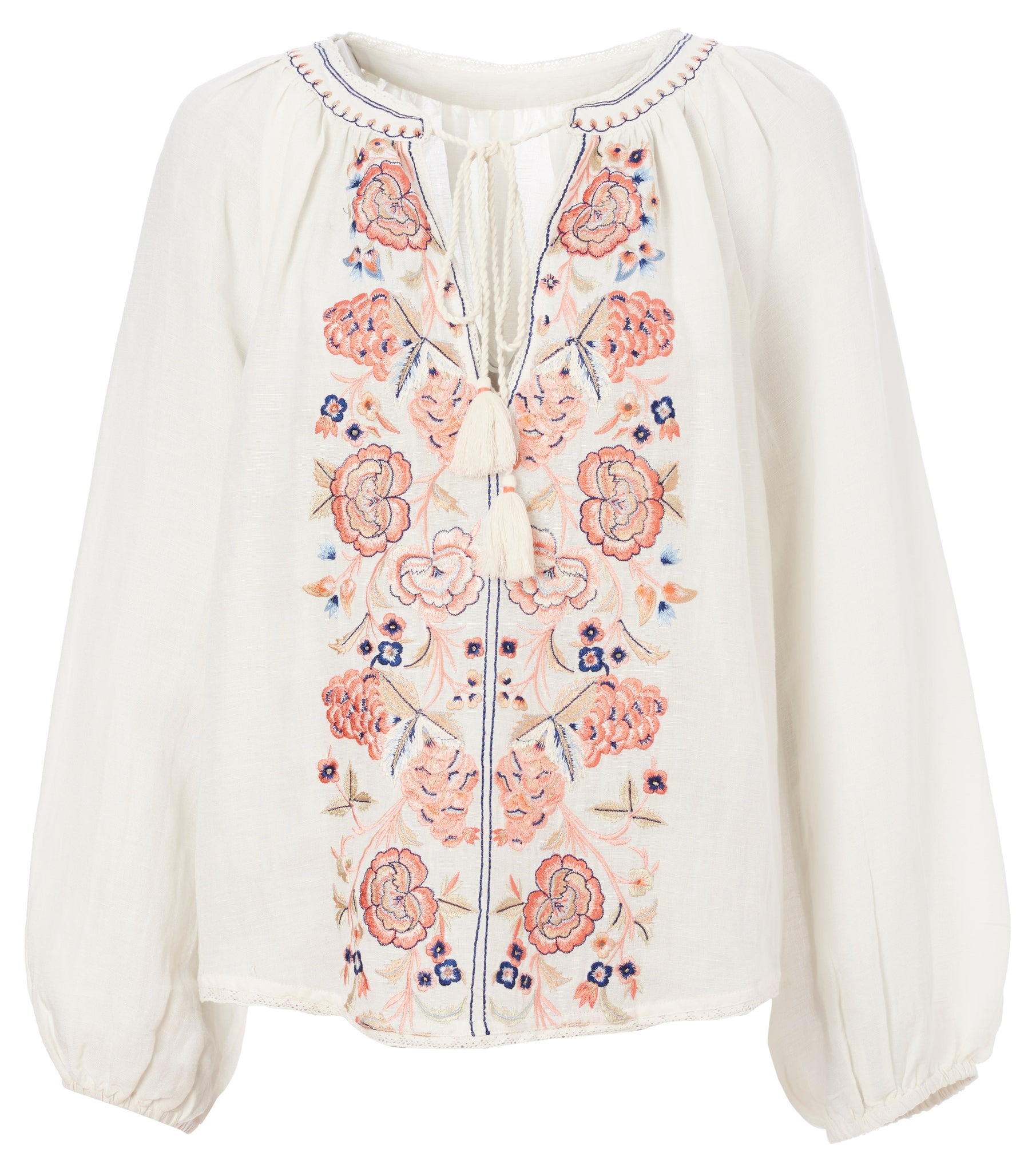 Frankie Embroidered Long Sleeve Top in Ecru