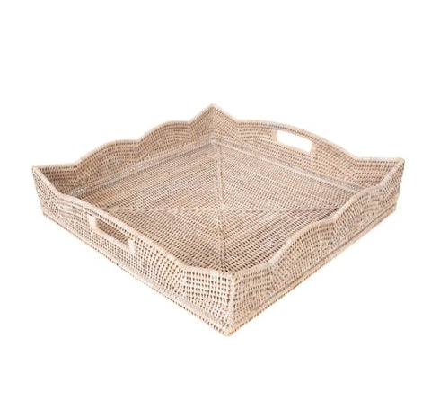 Small Square Scallop Rattan Tray in Whitewash