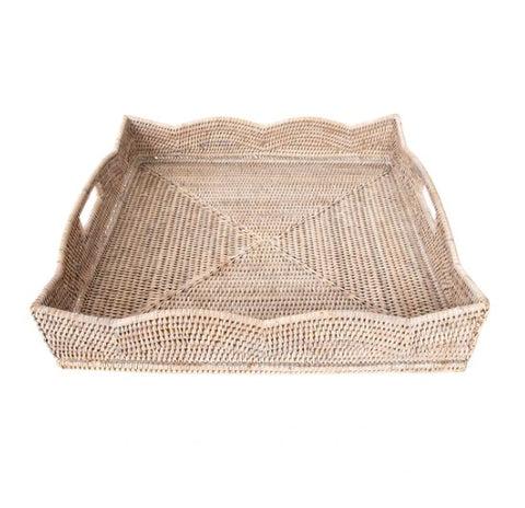 Large Square Scallop Rattan Tray in Whitewash