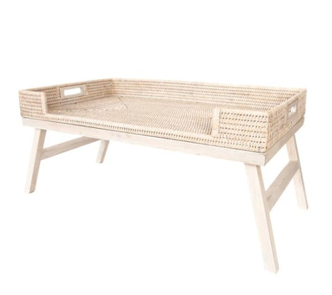 Rattan Breakfast Tray Table in Whitewash