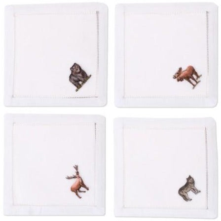 Embroidered Frontier Animals Cocktail Napkins