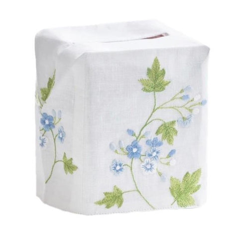 Spring Flower Tissue Box Cover in Blue