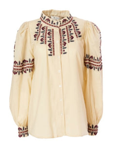 Francesca Long Sleeve Embroidered Blouse in Sand