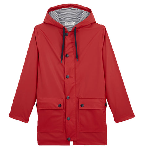 Hooded Rain Jacket in Red