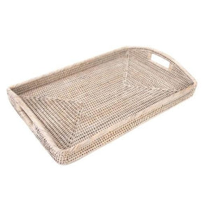 Rectangle Tray with High Handles in Whitewash