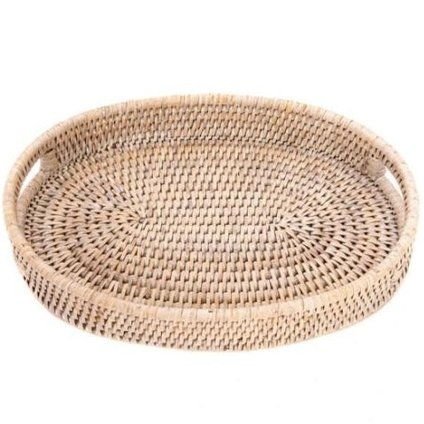 Rattan Oval Vanity Tray in Whitewash