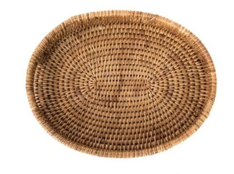 Rattan Oval Vanity Tray in Honey Brown