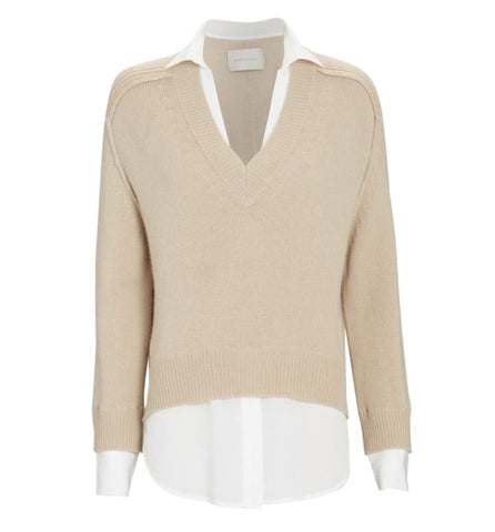 Alum V-Neck Layered Looker in Putty + Ivory