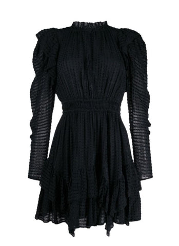 Leah Blouson Sleeve Dress in Noir