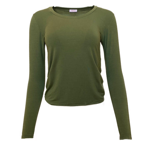 Scollo Uovo Long Sleeve Modal Tee in Olive