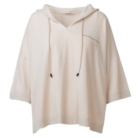 Hooded Cashmere Blend Knit Sweater in Sand