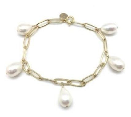 Marie Bracelet in Gold with White Pearls
