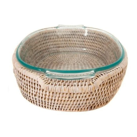 Oval Rattan Wrapped Baker in Whitewash