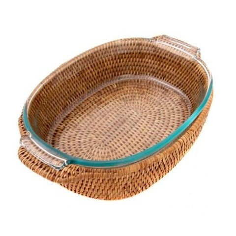 Oval Rattan Wrapped Baker in Honey Brown
