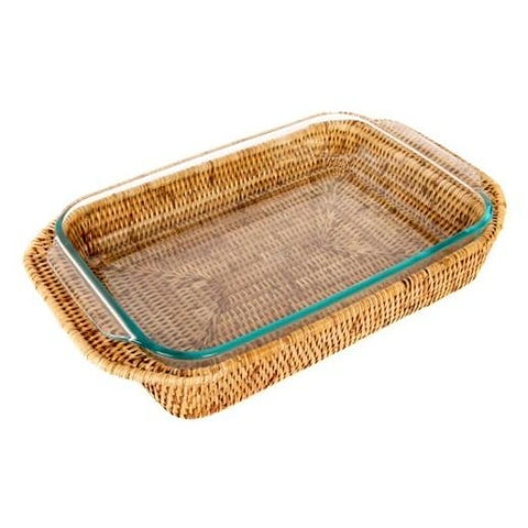 Large Rectangle Rattan Wrapped Baker in Honey Brown