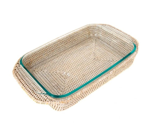 Medium Rectangle Rattan Wrapped Baker in Whitewash