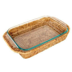 Medium Rectangle Rattan Wrapped Baker in Honey Brown