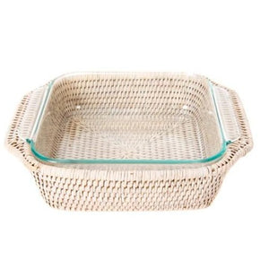 Square Rattan Wrapped Baker in Whitewash