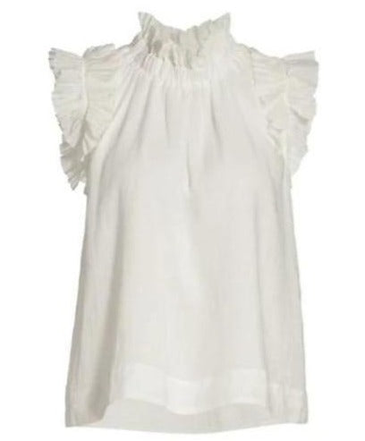 Hattie Ramie Flutter Sleeve Tank in White