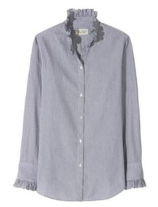Lydia Button Up Shirt in Black Stripe