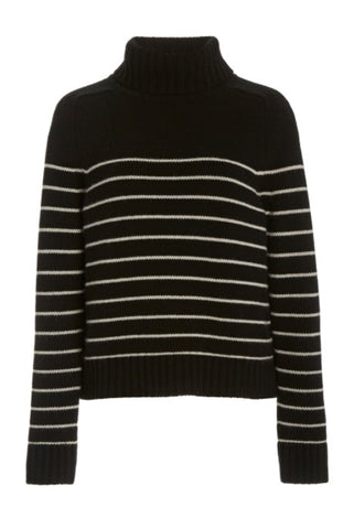 Molly Turtleneck Sweater in Black + Ivory