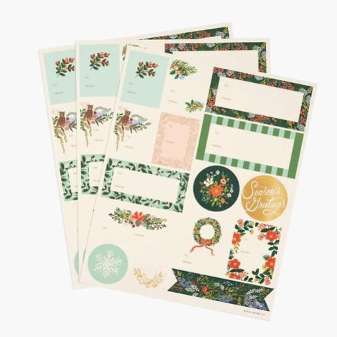 Winter Floral Holiday Sticker Sheets