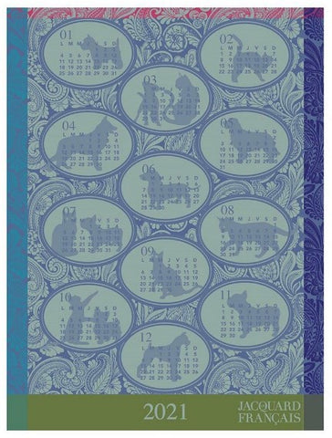Calendar 2021 Tea Towel in Blue