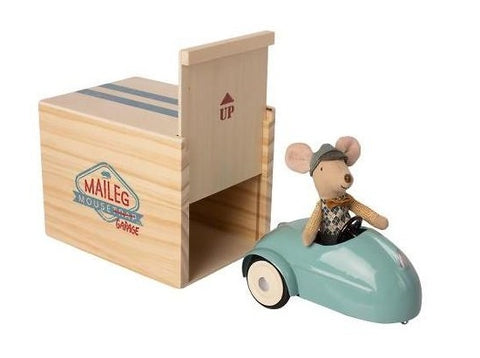 Mouse Car with Garage in Blue
