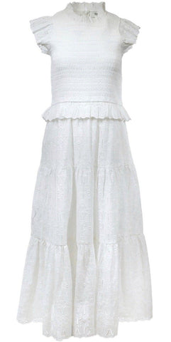 Ingrid Smocked Midi Dress in White