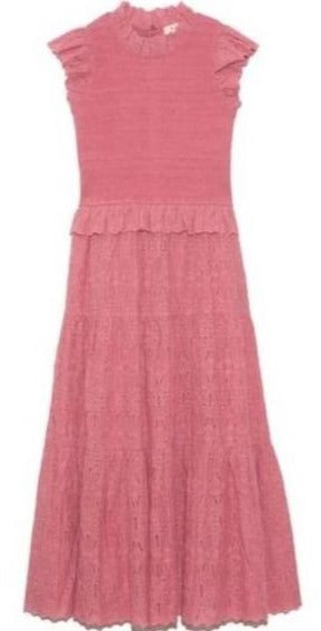 Ingrid Smocked Midi Dress in Rose