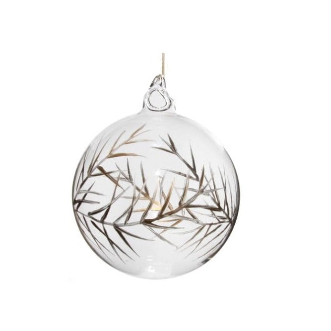Etched Leaf Ball Ornament