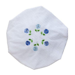 Blue Row of Flowers White Waffle Shower Cap