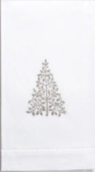 Embroidered Modern Silver Tree Everyday Towel