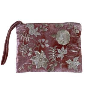 Madame Bovary Velvet Zip Pouch in Shaded Rose