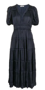 Olivia Short Sleeve Midi Dress in Midnight
