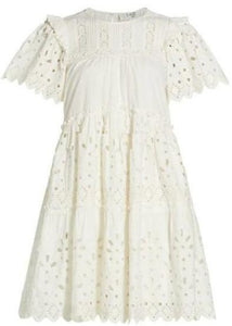 Hazel Eyelet Tiered Dress in White