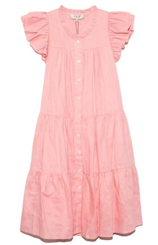 Shannon Scallop Button Down Dress in Rose