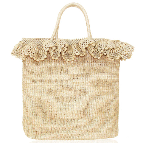 Arruga Beaded Ruffle Tote in Natural