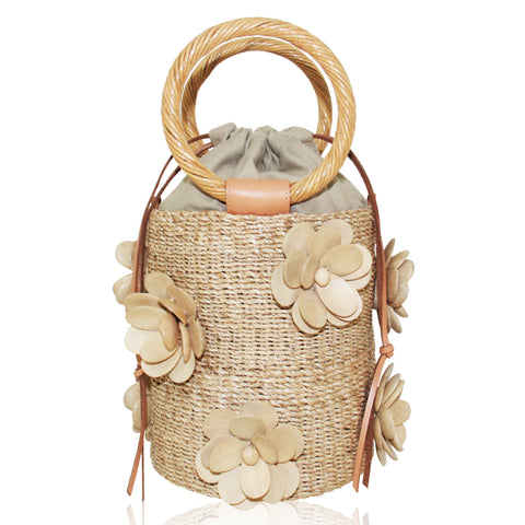 Flore Ring Handled Bucket Bag in Natural