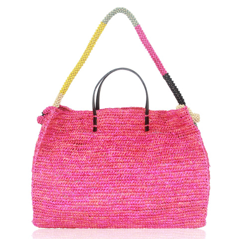 Bahaghari XL Tote with Beaded Strap in Hot Pink