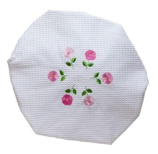 Pink Row of Flowers White Waffle Shower Cap