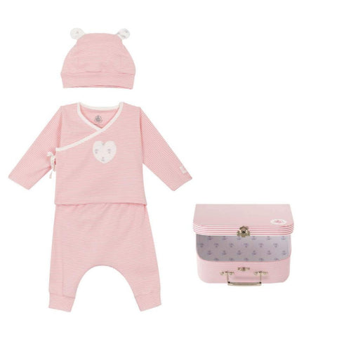 Fairplay Three Piece Striped Long Sleeved Top with Pants + Hat in Pink + White